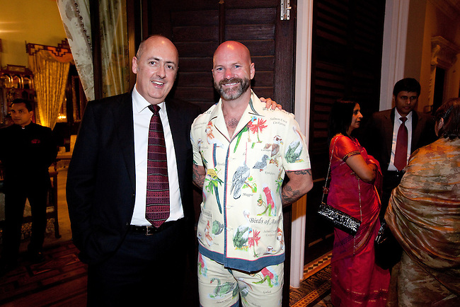 02 Feburary 2013, Hyderabad, India: Deputy High Commissioner to India, Dr.Lachlan Strahan (left) with Stuart Blackwell of Universal restaurant before the OzFest sponsored dinner featuring Australian chef Christine Manfield, of Universal restaurant, Sydney  who cooked a five course meal for guests at the Falaknuma Palace at Hyderabad , India. The dinner also featured Australian author John Zubrzycki who read excerps from his latest novel The Mysterious Mr. Jacob to the crowd of Australian and Indian dignitaries and businessmen. Picture by Graham Crouch