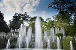 Since 1914, Longwood Garden's Open Air Theatre has amused visitors with theatrical performances, concerts, and garden parties.  The theatre also has a fountain system housing 750 water nozzles.  The fountain height and patterns are choreographed to musical performances several times per day.  Longwood Gardens is located in Kennett Square, Pennsylvania, thirty minutes from Philadelphia.