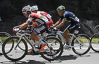 COLOMBIA. 08-08-2014. Jose Rujano (#51) y Fredy montaña (#61) durante la etapa 3, Barbosa – Chiquinquirá – Tunja – 123.2 Km, de la Vuelta a Colombia 2014 en bicicleta que se cumple entre el 6 y el 17 de agosto de 2014. / Jose Rujano (#51) and Fredy montaña (#61) cyclists during the stage 3, Barbosa – Chiquinquira – Tunja – 123.2 Km, of the Tour of Colombia 2014 in bike holds between 6 and 17 of August 2014. Photo:  VizzorImage/ José Miguel Palencia / Str