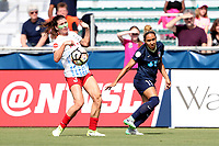 Cary, North Carolina  - Sunday May 21, 2017: Jaelene Hinkle and Arin Gilliland during a regular season National Women's Soccer League (NWSL) match between the North Carolina Courage and the Chicago Red Stars at Sahlen's Stadium at WakeMed Soccer Park. Chicago won the game 3-1.