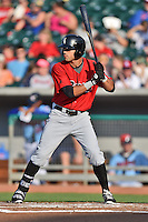 Birmingham Barons center fielder Keenyn Walker #23 awaits a pitch during a game against the Tennessee Smokies at Smokies Park on May 31, 2014 in , Tennessee. The Barons defeated the Smokies 2-1. (Tony Farlow/Four Seam Images)