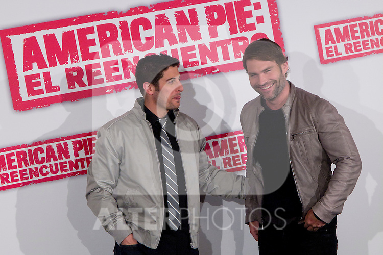 "19.04.2012. Presentation Photocall at the Hotel Villamagna in Madrid of ""American Pie. The Reunion"" with actors Jason Biggs (Jim), Sean William Scott (Stifler), Chris Klein (Oz), Mena Suvari (Heather), Eugene Levy (Jim's father) and Jennifer Coolidge (Stifler's Mother) and directors John Hurwitz and Hayden Schlossberg. In the picture: Jason Biggs and  Sean William Scott (Alterphotos/Marta Gonzalez)"