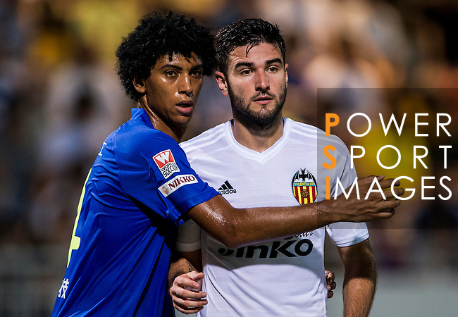 (R) Antonio Barragan of Valencia CF competes for the ball with (L) Ivan Zarandona of BC Rangers FC during LFP World Challenge 2014 between Valencia CF vs BC Rangers FC on May 28, 2014 at the Mongkok Stadium in Hong Kong, China. Photo by Victor Fraile / Power Sport Images