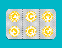 Euro coin pills in blister pack