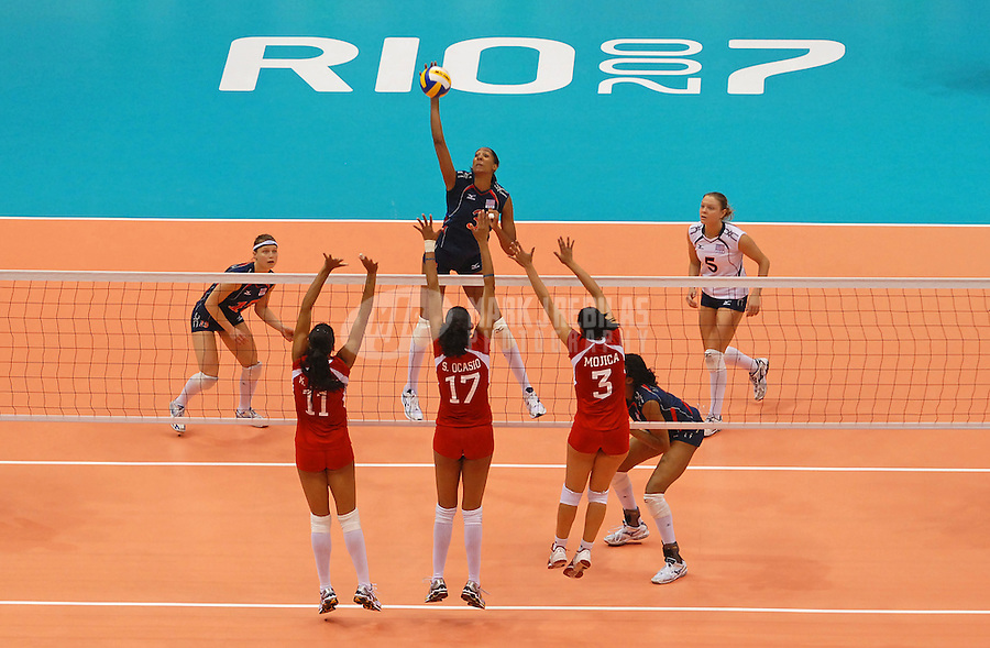Jul 15, 2007; Rio de Janeiro, Brazil; Tayyiba Haneef-Park (USA) hits the ball against Puerto Rico during the preliminary round of womens volleyball at the Ginasio do Maracanazinho in the Pan American Games at the Multipurpose Arena in Rio de Janeiro. United States defeated Puerto Rico 3-1. Mandatory Credit: Mark J. Rebilas-US PRESSWIRE Copyright © 2007 Mark J. Rebilas