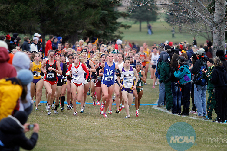19 NOV 2011:  Chiara Del Piccolo of Williams College paces the pack during the Division III Women's Cross Country Championship held at the Lake Breeze Golf Club in Winneconne, WI.  Del Piccolo won the race with a 20:52.08 time.  Al Fredrickson/NCAA Photos