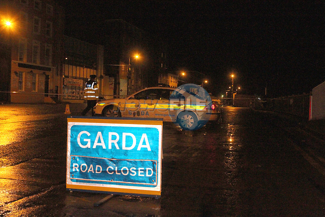 Scene on North Quay Drogheda which will be closed overnight after two pedestrians were hit by a car earlier this evening...Photo NEWSFILE/Jenny Matthews..(Photo credit should read Jenny Matthews/NEWSFILE)