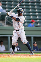 Outfielder Kelvin De Leon (35) of the Charleston RiverDogs in a game against the Greenville Drive on Saturday, April 6, 2013, at Fluor Field at the West End in Greenville, South Carolina. Charleston won Game 1 of a doubleheader, 6-2. (Tom Priddy/Four Seam Images)