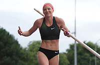Sandi Morris of United States competing in the Women's Pole Vault during the Muller Grand Prix  IAAF Diamond League meeting at Alexander Stadium, Perry Barr, Birmingham.<br /> Picture by Alan Stanford +44 7915 056117<br /> 18/08/2018