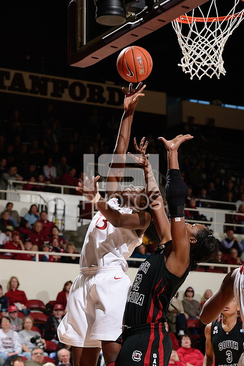 STANFORD, CA - NOVEMBER 26: Chiney Ogwumike of Stanford women's basketball puts up a shot in a game against South Carolina on November 26, 2010 at Maples Pavilion in Stanford, California.  Stanford topped South Carolina, 70-32.