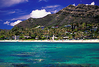 View from the ocean on Lanikai  beach with mountains in the background