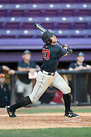 Left fielder Tommy Seidl (20) of the Harvard Crimson bats in game two of a doubleheader against the Furman Paladins on Friday, March 16, 2018, at Latham Baseball Stadium on the Furman University campus in Greenville, South Carolina. Furman won, 7-6. (Tom Priddy/Four Seam Images)