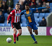 Lincoln City's Harry Toffolo battles with Shrewsbury Town's Ethan Ebanks-Landell<br /> <br /> Photographer Andrew Vaughan/CameraSport<br /> <br /> The EFL Sky Bet League One - Shrewsbury Town v Lincoln City - Saturday 11th January 2020 - New Meadow - Shrewsbury<br /> <br /> World Copyright © 2020 CameraSport. All rights reserved. 43 Linden Ave. Countesthorpe. Leicester. England. LE8 5PG - Tel: +44 (0) 116 277 4147 - admin@camerasport.com - www.camerasport.com