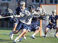 Washington, DC - February 27, 2018: Georgetown Hoyas Lucas Wittenberg (6) fights off a Mt. St. Mary's Mountaineers defender during game between Mount St. Mary's and Georgetown at  Cooper Field in Washington, DC.   (Photo by Elliott Brown/Media Images International)
