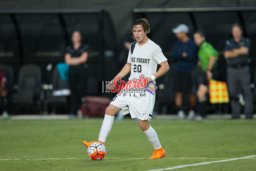 Hunter Bandy (20) of the Wake Forest Demon Deacons controls the ball during first half action against the Santa Clara Broncos at Spry Soccer Stadium on August 28, 2015 in Winston-Salem, North Carolina.  The Demon Deacons defeated the Broncos 1-0.  (Brian Westerholt/Sports On Film)