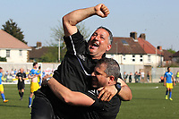 Tom Loizou manager of Haringey celebrates at the final whistle as Haringey are promoted during Haringey Borough vs Canvey Island, Bostik League Division 1 North Play-Off Final Football at Coles Park Stadium on 6th May 2018