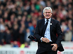 Stoke's Mark Hughes looks on dejected during the premier league match at the Britannia Stadium, Stoke on Trent. Picture date 9th September 2017. Picture credit should read: David Klein/Sportimage