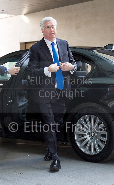 The Andrew Marr Show arrivals at the BBC, Broadcasting House, London, Great Britain <br /> 2nd April 2017 <br /> <br /> Rt Hon Michael Fallon MP <br /> Defence Minister <br /> <br /> <br /> <br /> <br /> Photograph by Elliott Franks <br /> Image licensed to Elliott Franks Photography Services