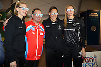 06.08.2015 Silver Ferns Casey Kopua. Jodi Brown and Katrina Grant visit the Fan Fest ahead of the 2015 Netball World Champs at All Phones Arena in Sydney, Australia. Mandatory Photo Credit ©Michael Bradley.