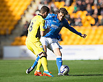 St Johnstone v St Mirren....04.10.14   SPFL<br /> Murray Davidson tackles Kenny McLean<br /> Picture by Graeme Hart.<br /> Copyright Perthshire Picture Agency<br /> Tel: 01738 623350  Mobile: 07990 594431
