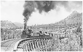 RGS 4-6-0 #22 with freight on trestle 160-A (Lightner Creek Trestle).<br /> RGS  Franklin, CO  Taken by Jackson, Richard B. - 7/5/1937