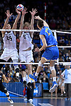 LOS ANGELES - MAY 5:  Nick Amado #25 and Kyle Ensing #5 of the Long Beach State 49ers defend against the spike by Christian Hessenauer #17 of the UCLA Bruins during the Division 1 Men's Volleyball Championship on May 5, 2018 at Pauley Pavilion in Los Angeles, California. The Long Beach State 49ers defeated the UCLA Bruins 3-2. (Photo by John W. McDonough/NCAA Photos via Getty Images)