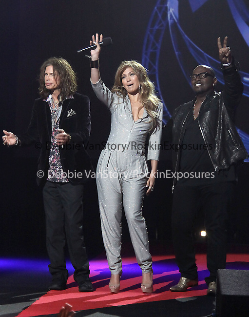 Steven Tyler,Jennifer Lopez and Randy Jackson  at The AMERICAN IDOL Season Ten judges' panel Announcement held at The Forum in Los Angeles, California on September 22,2010                                                                               © 2010 Hollywood Press Agency