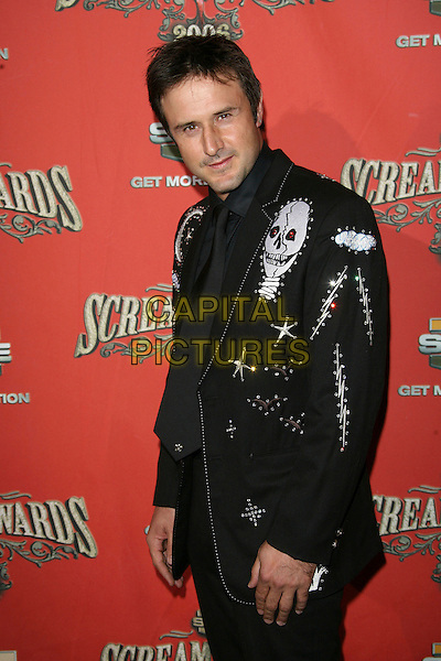 "DAVID ARQUETTE.At Spike TV's ""Scream Awards 2006"", Press Room,. at the Pantages Theatre, Hollywood, California, USA, .7th October 2006..half length black suit skull embroidery.Ref: ADM/ZL.www.capitalpictures.com.sales@capitalpictures.com.©Zach Lipp/AdMedia/Capital Pictures."