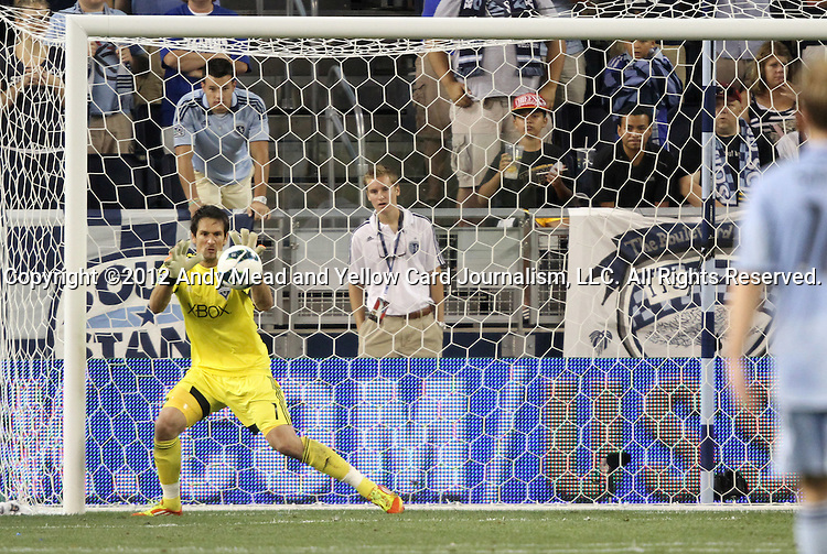 08 August 2012: Seattle's Michael Gspurning (GRE) makes a first half save. Sporting Kansas City played Seattle Sounders FC at Livestrong Sporting Park in Kansas City, Kansas in the 2012 Lamar Hunt U.S. Open Cup Final.