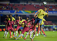 SAO PAULO – BRASIL, 19-06-2019: William Tesillo de Colombia en acción durante partido de la Copa América Brasil 2019, grupo B, entre Colombia y Catar jugado en el Estadio Morumbí de Sao Paulo, Brasil. / William Tesillo of Colombia in action during the Copa America Brazil 2019  Photos: VizzorImage / Julian Medina / Contribuidor