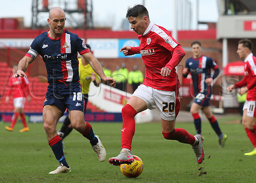 20.02.2016. Oakwell Stadium, Barnsley, England. Skybet League One Barnsley versus Doncaster. Barnsleys Adam Hammill trys to get past Doncasters Paul Keegan