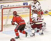 Josee Belanger (SLU - 4), Kate Leary (BC - 28), Carmen MacDonald (SLU - 30), Taylor Wasylk (BC - 9) - The Boston College Eagles defeated the visiting St. Lawrence University Saints 6-3 (EN) in their NCAA Quarterfinal match on Saturday, March 10, 2012, at Kelley Rink in Conte Forum in Chestnut Hill, Massachusetts.