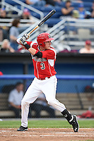 Batavia Muckdogs outfielder Ryan Aper (3) at bat during a game against the Auburn Doubledays on June 16, 2014 at Dwyer Stadium in Batavia, New York.  Batavia defeated Auburn 4-3.  (Mike Janes/Four Seam Images)