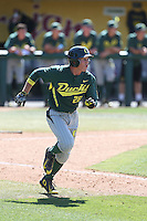 Daniel Patzlaff (26) of the Oregon Ducks runs to first base during a game against the Southern California Trojans at Dedeaux Field on April 18, 2015 in Los Angeles, California. Oregon defeated Southern California, 15-4. (Larry Goren/Four Seam Images)