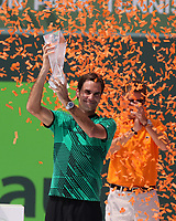 www.acepixs.com<br /> <br /> April 2 2017, Key Biscayne<br /> <br /> Roger Federer of Switzerland defeated Rafael Nadal of Spain in the Men's Finals on day 14 of the Miami Open at Crandon Park Tennis Center on April 2, 2017 in Key Biscayne, Florida.<br /> <br /> By Line: Solar/ACE Pictures<br /> <br /> ACE Pictures Inc<br /> Tel: 6467670430<br /> Email: info@acepixs.com<br /> www.acepixs.com