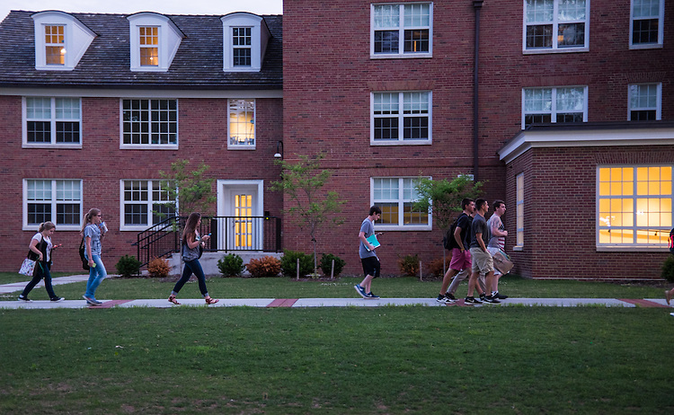 Bobcat Student Orientation attendees make their way across East Green for the Late Night on the Green, featuring games and ice cream on Wednesday, June 3, 2015.  Photo by Ohio University  /  Rob Hardin