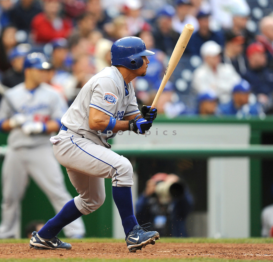 RAFAEL FURCAL, of the Los Angeles Dodgers, in action during the Dodgers game against the Washington Nations  at Nationals Park in Washington D.C.on April 25, 2010.   The Dodgers win the game 1-0....