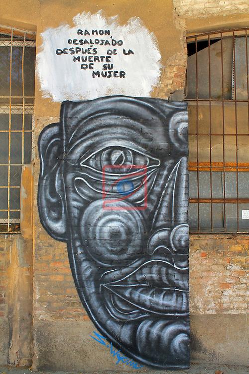 Street Art-Graffittis.<br /> Barcelona, carrer de Selva de Mar, Poblenou.
