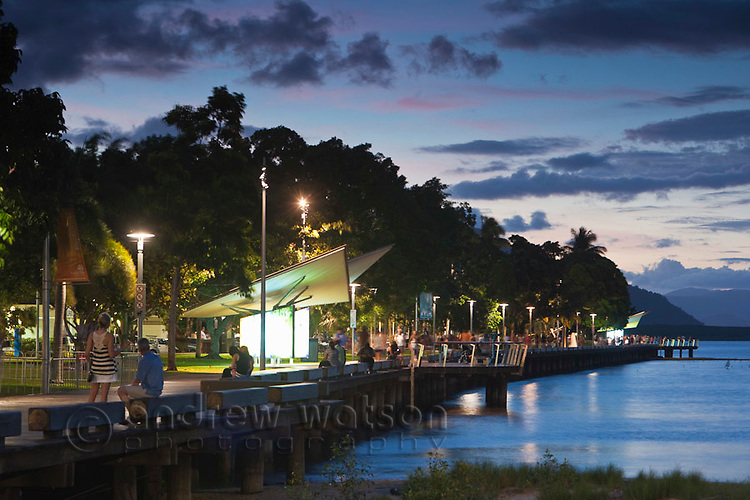 View along the Esplanade boardwalk at dusk.  Cairns, Queensland, Australia