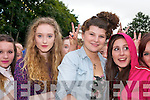 Grace Ryle (Killarney), Lizzie O'Sullivan (Tralee) and Tara Casey (Limerick) watching the warm-up acts before Jedward on Friday.