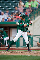 Fort Wayne TinCaps left fielder Tre Carter (20) at bat during a game against the West Michigan Whitecaps on May 17, 2018 at Parkview Field in Fort Wayne, Indiana.  Fort Wayne defeated West Michigan 7-3.  (Mike Janes/Four Seam Images)
