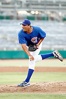 Carlos Zambrano - AZL Cubs - 2010 Arizona League. Zambrano pitches in his first rehab game since leaving the Cubs major league team after an incident in the dugout at Wrigley Field. Here, Zambrano pitches one scoreless innings against the AZL Royals at Hohokam Stadium, Mesa, AZ - 07/19/2010.Photo by:  Bill Mitchell/Four Seam Images..