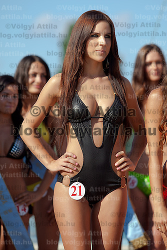 Vanda Szamosi winner of the Miss Bikini Hungary beauty contest held in Budapest, Hungary on August 29, 2010. ATTILA VOLGYI