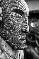 Traditional Maori Carving, Te Puia, Rotorua, New Zealand - stock photo, canvas, fine art print