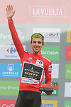 Race leader Simon Yates (GBR) Mitchelton-Scott on the podium smiling as he knows he has won the overall at the end of Stage 20 of the La Vuelta 2018, running 97.3km from Andorra Escaldes-Engordany to Coll de la Gallina, Spain. 15th September 2018.                   <br /> Picture: Colin Flockton | Cyclefile<br /> <br /> <br /> All photos usage must carry mandatory copyright credit (© Cyclefile | Colin Flockton)