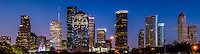 Houston Skyline Panorama at night -  A great panorama of Houston skyline at night in the downtown area which include all the high rise buildings like the Well Fargo, Smith Street, the American Bank, Heritage Plaza and more.