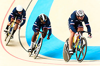 Picture by Alex Whitehead/SWpix.com - 09/12/2017 - Cycling - UCI Track Cycling World Cup Santiago - Velódromo de Peñalolén, Santiago, Chile - France's Rayan Helal, Melvin Landerneau and Francois Pervis compete in the Men's Team Sprint qualifying.