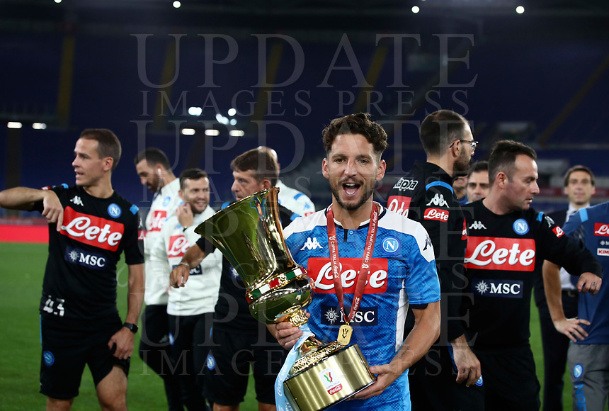 Napoli's Dries Mertens holds the trophy at the end of the Italian Cup football final match between Napoli and Juventus at Rome's Olympic stadium, with closed doors, June 17, 2020. Napoli won 4-2 at the end of a penalty shootout following a scoreless draw.<br /> UPDATE IMAGES PRESS/Isabella Bonotto