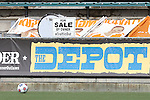 """04 July 2015: The Carolina supporters in The Depot post a """"For Sale"""" sign as the team's current owner, Traffic Sports USA, is embroiled in the ongoing FIFA corruption probe by U.S. and Swiss agencies. The Carolina RailHawks hosted Minnesota United FC at WakeMed Stadium in Cary, North Carolina in a North American Soccer League 2015 Fall Season match. Carolina won the game 3-1."""