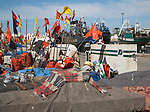 Colourful lobster pot flags in the fishing port, Essaouira, Morocco